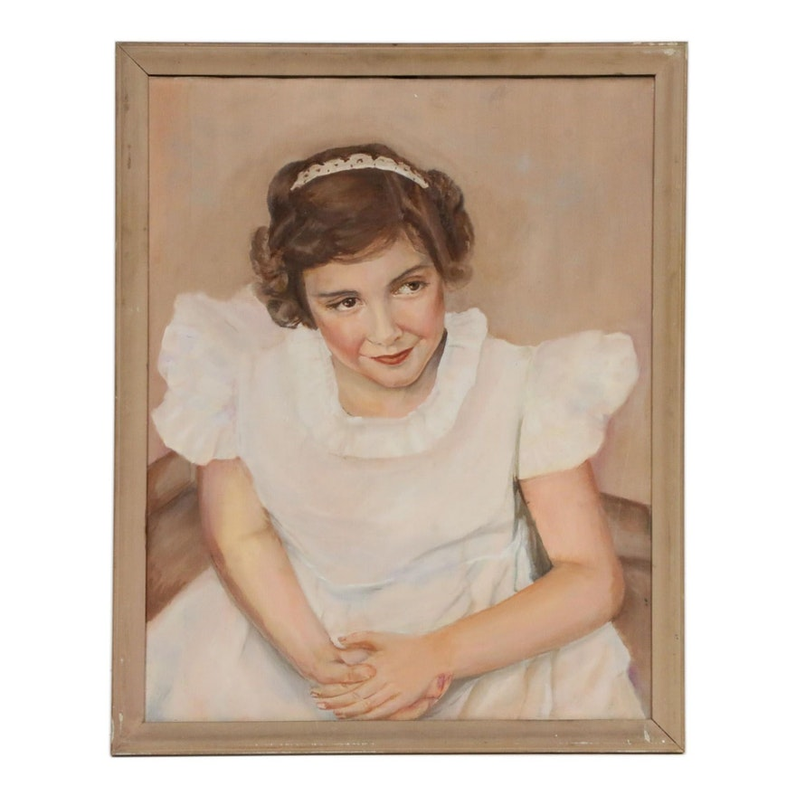 Young Girl Portrait Oil Painting, Mid-20th Century