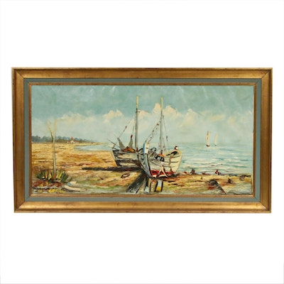Beach Scene with Boats Oil Painting, Mid-20th Century