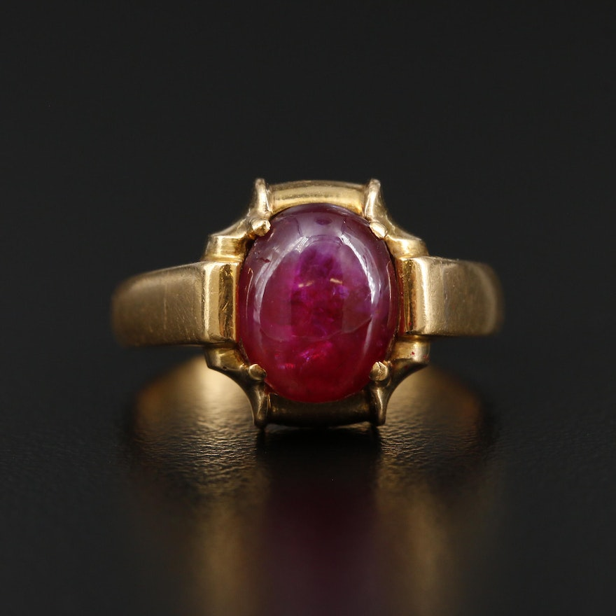 18K Yellow Gold 4.39 CT Ruby Ring