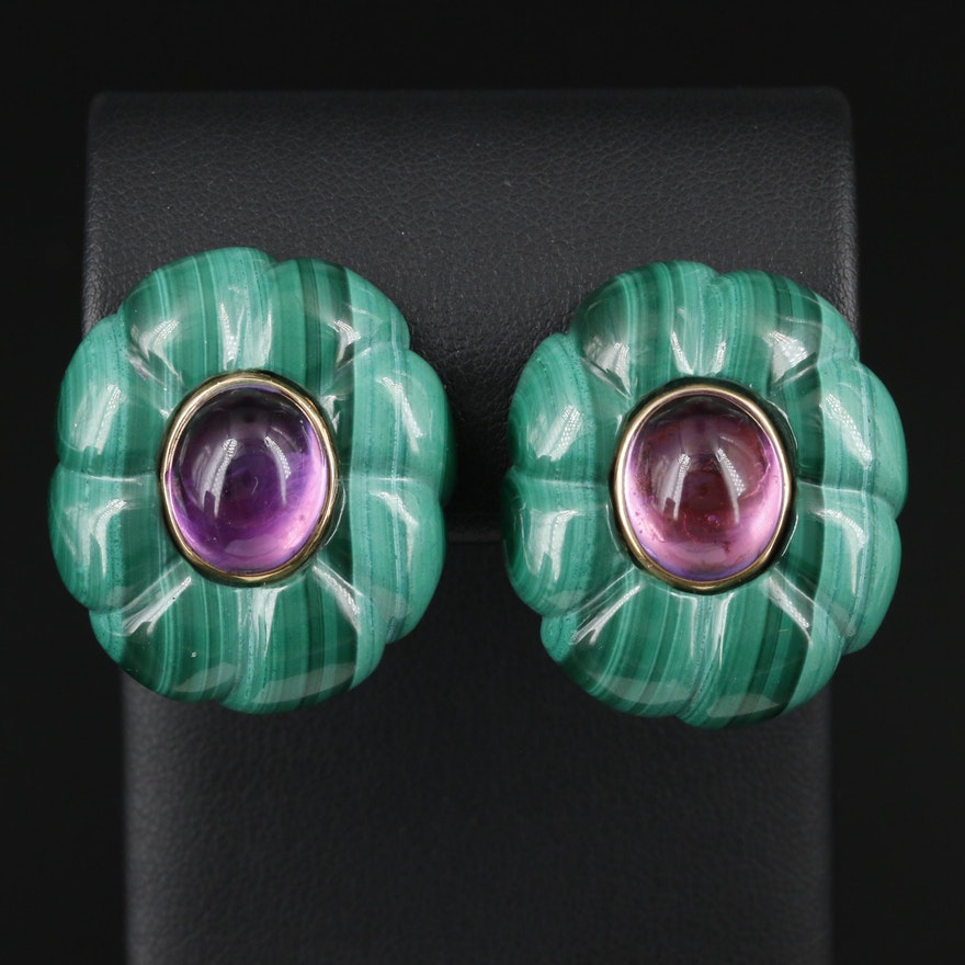 14K Yellow Gold Amethyst and Malachite Button Earrings