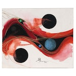 """Po Yong Abstract Mixed Media Painting """"652 Composition - 300"""", 1965"""