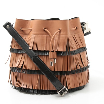 Proenza Schouler Two-Tone Leather Fringed Drawstring Bag with Pouchette