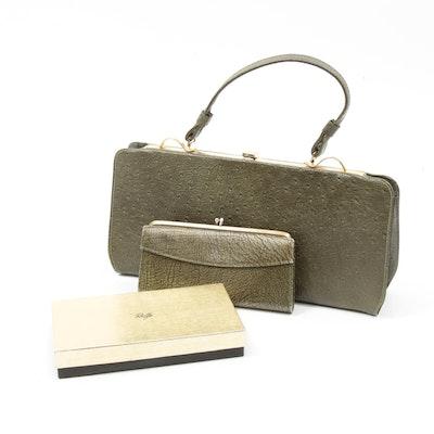 Rolfs Faux Ostrich Skin Handbag with Wallet in Olive, 1960s Vintage