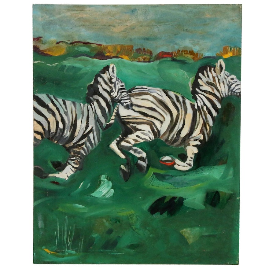 Landscape With Zebras Oil Painting