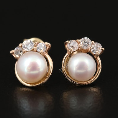 14K Yellow Gold, Cultured Pearl and Cubic Zirconia Stud Earrings