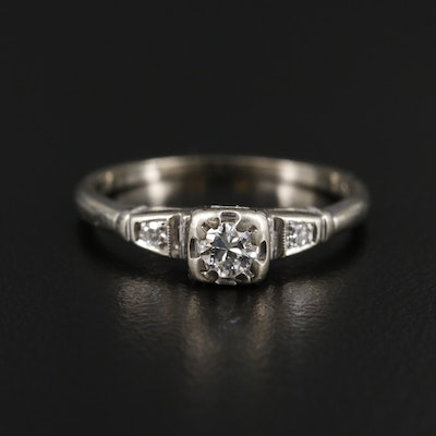 1930s 14K White Gold Diamond Ring