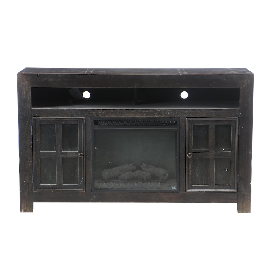 Ashley Furniture Ebonized Media Console with Electric Fireplace Insert
