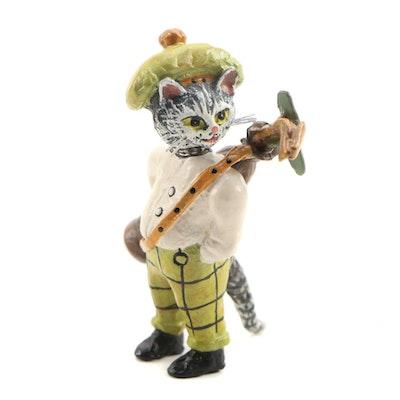 Austrian Cold Painted Bronze Cat Golfer Figurine