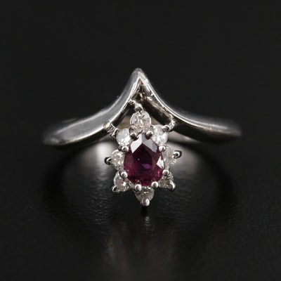 14K White Gold Ruby and Diamond Chevron Ring