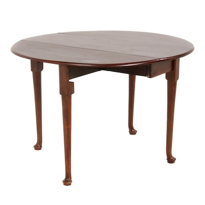 Queen Anne Style Mahogany Finish Drop Leaf Table, Mid to Late 20th Century