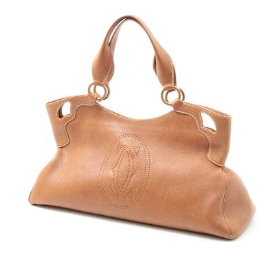 Cartier Marcello de Cartier Pebbled Leather Handbag with Pierced Logo