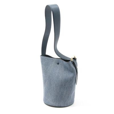 Derek Lam 10 Crosby Grove Denim, Leather and Suede Bucket Bag