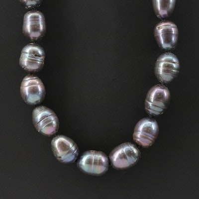 Single Strand Baroque Pearl Necklace with 14K Yellow Gold Clasp