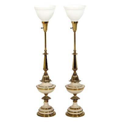 Stiffel Hollywood Regency Style Brass Torchiere Lamps