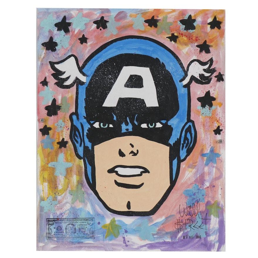 "Will $treet Pop Art Acrylic Painting ""Cap"", 2019"