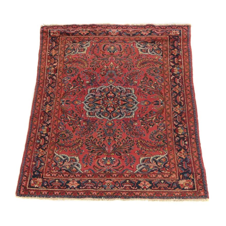5'0 x 6'5 Hand-Knotted Persian Lilihan Wool Rug