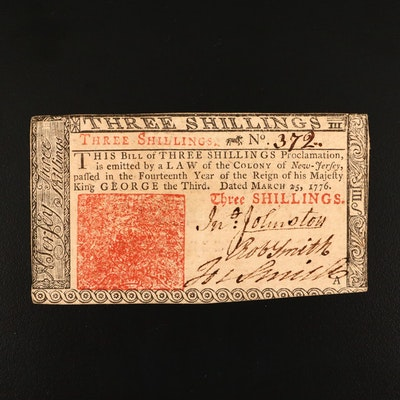 March 25th, 1776 New Jersey Three Shillings Obsolete Colonial Currency Note