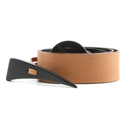 MaxMara Edro Grained Leather Belt with Ebonized Wood Toggle Buckle
