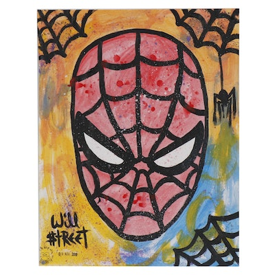 "Will $treet Pop Art Acrylic Painting ""Spider 'Spidey' """