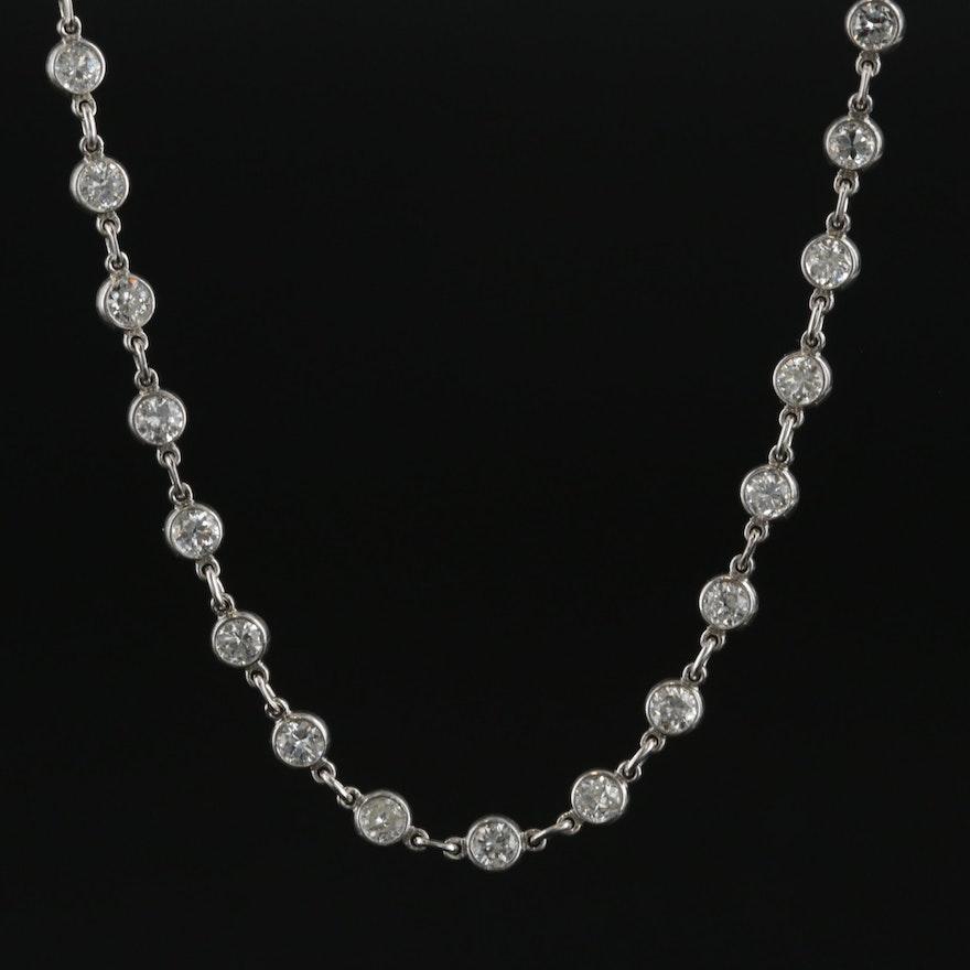 Platinum 12.45 CTW Diamond Link Necklace