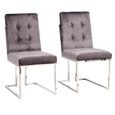 Pair of Modernist Style Chromed Metal and Button-Tufted Side Chairs