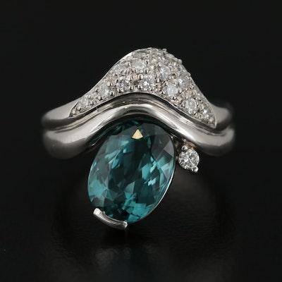 Platinum 3.50 CT Tourmaline and Diamond Ring