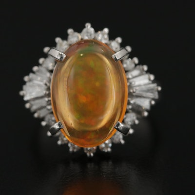 Platinum 4.05 CT Contra Luz Opal and Diamond Ring
