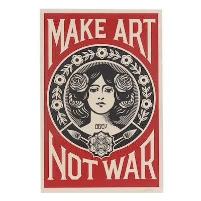 "Shepard Fairey Offset Poster ""Make Art Not War"", 2018"