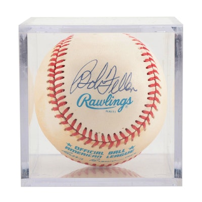 Bob Feller Signed American League Baseball  COA