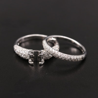 18K White Gold Diamond Semi-Mount Pavé Ring and Shadow Band Set