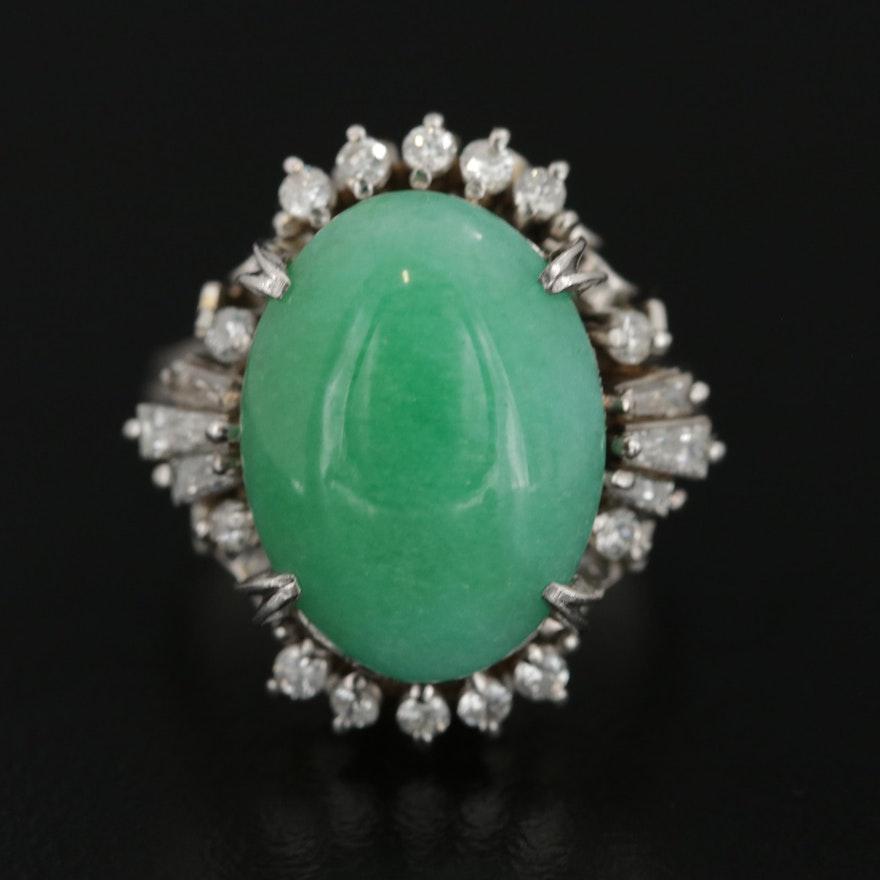 Platinum 6.80 CT Jadeite and Diamond Ring