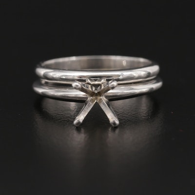 14K White Gold Solitaire Mounting and Platinum Band