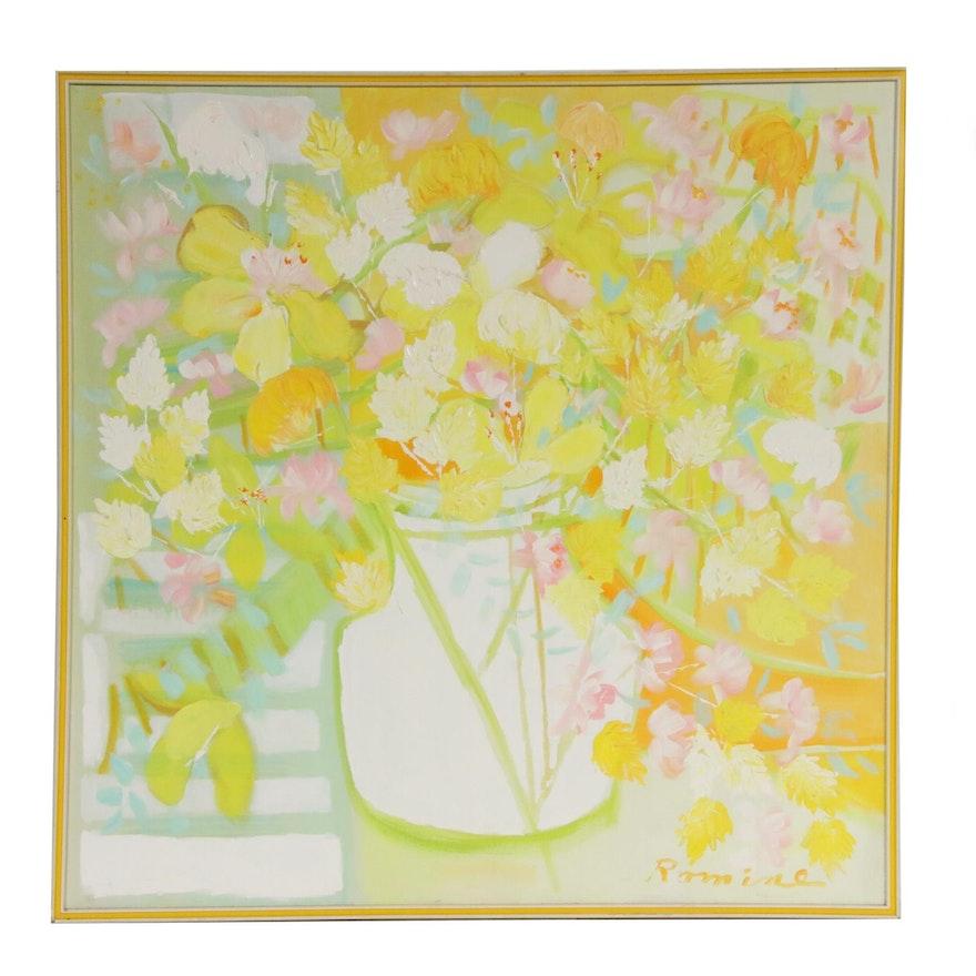 Floral Still Life Impasto Acrylic Painting, Mid-20th Century