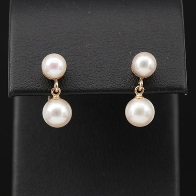 14K Yellow Gold Pearl Dangle Earrings