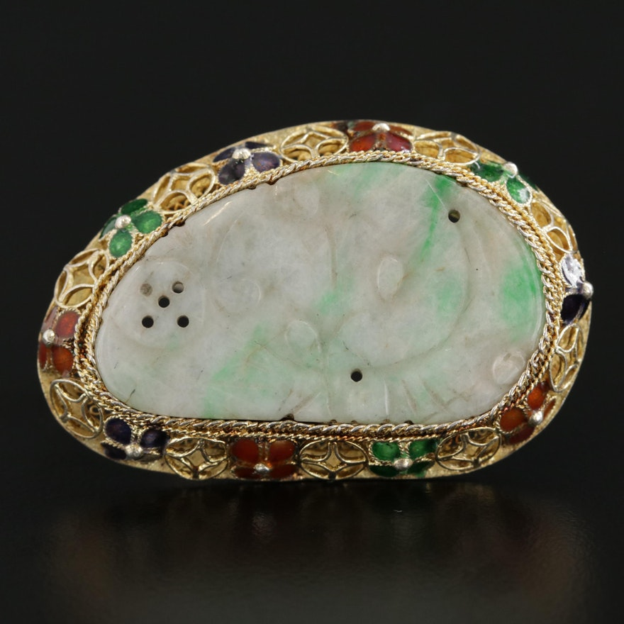Vintage Sterling Silver Jadeite Brooch with Enamel Accents