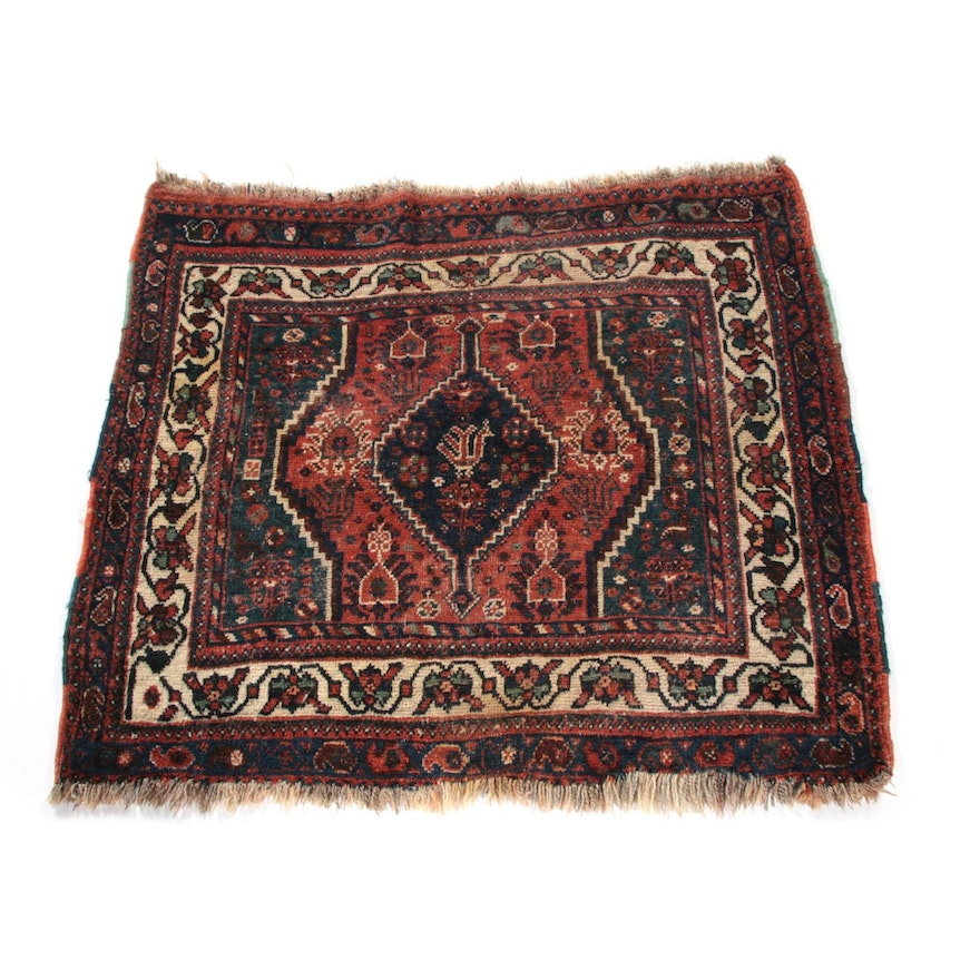3'6 x 3'3 Hand-Knotted Persian Qashqai Wool Rug, Early 20th Century