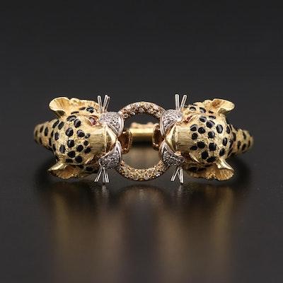 18K Yellow Gold Ruby, Diamond and Enamel Leopard Hinged Bangle Bracelet