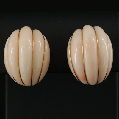 14K Yellow Gold Coral Clip-On Earrings