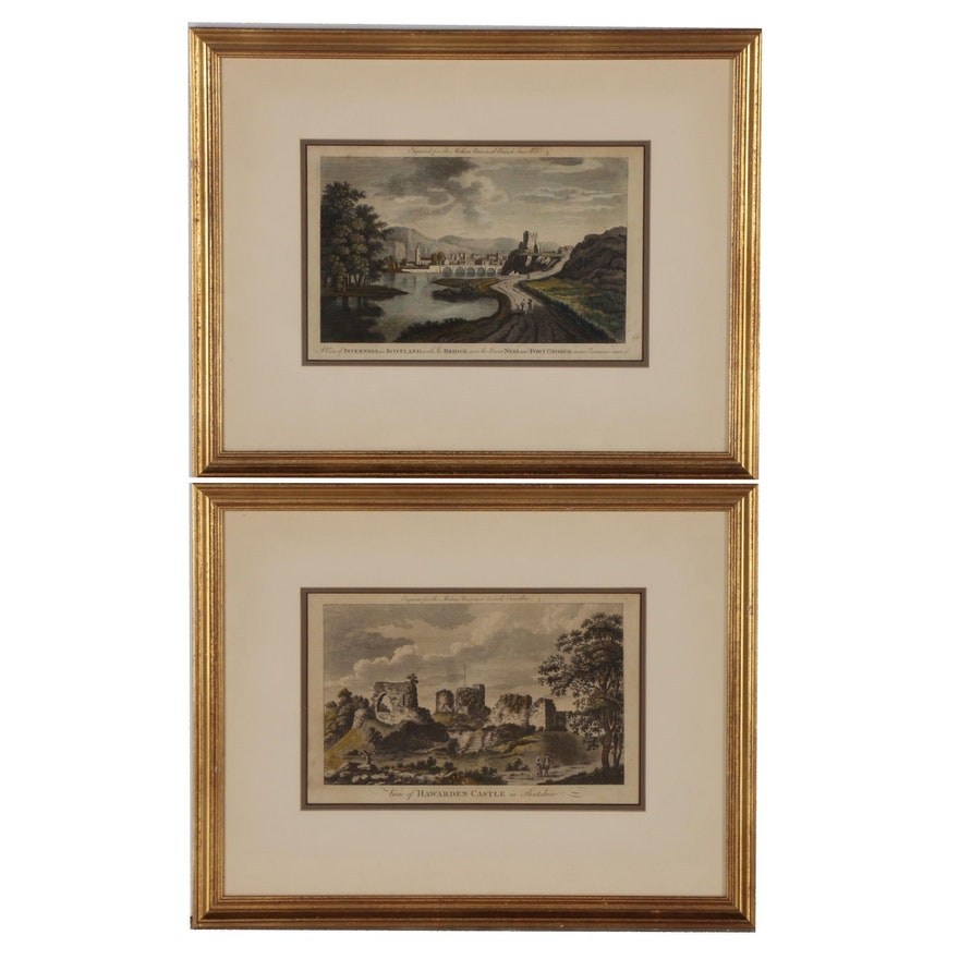 """Transfer Lithographs from Engravings in """"The Modern Universal British Traveller"""""""