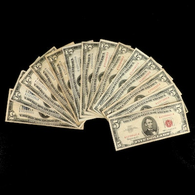 Fourteen Various $5 United States Currency Notes Varying from 1934 to 1963
