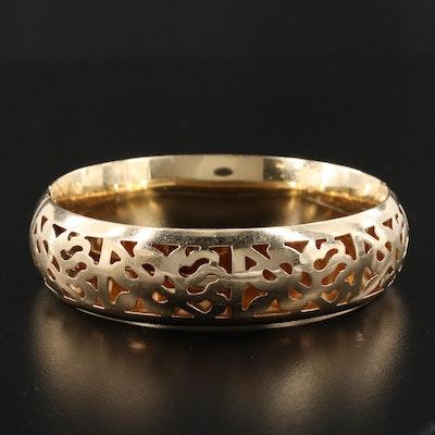14K Yellow Gold Hinged Bangle Bracelet with Pierced Design