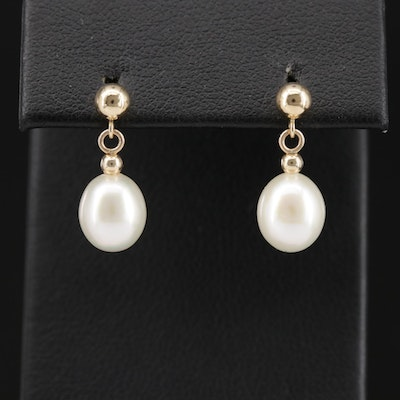 14K Ball Earrings with Pearl Dangles