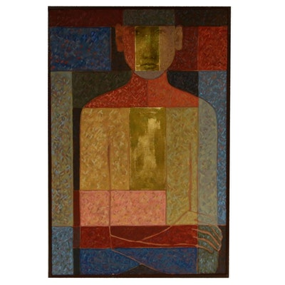 "Farnoosh Lanjani Oil Painting with Gold Leaf ""Meditation III"""