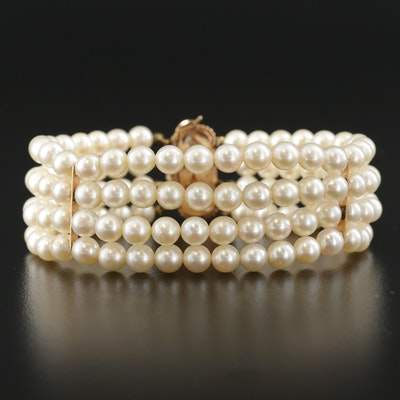 Vintage Pearl Multi-Strand Bracelet with 14K Yellow Gold Clasp