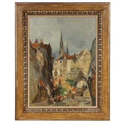 Jan de Vogel Dutch City Scene Oil Painting, Mid-20th Century