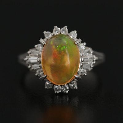 Platinum 3.16 CT Contra Luz Opal and Diamond Ring