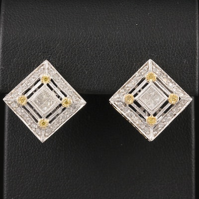 14K White Gold 1.05 CTW Diamond Earrings with Yellow Gold Accents