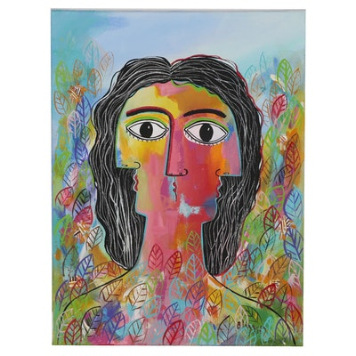 """Michel Blázquez Abstract Acrylic Painting """"Woman in the Garden"""", 2019"""