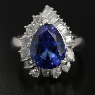 Platinum 7.56 CT Tanzanite and 1.42 CTW Diamond Ring