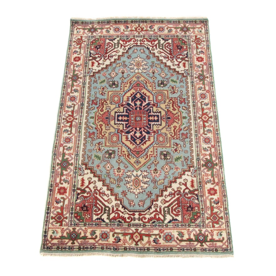 4'11 x 8'6 Hand-Knotted Persian Heriz Serapi Wool  Rug, Contemporary